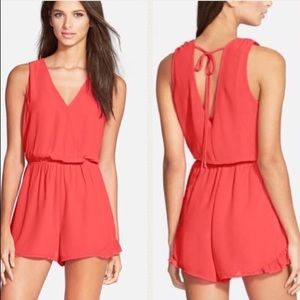 ASTR the Label Sleeveless Romper in Coral